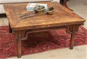 Sale 9060H - Lot 80 - An oriental style square form coffee table, the plank top raised over four rounded legs. Height 50 x 99 x 99cm