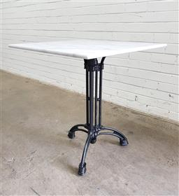 Sale 9112 - Lot 1063 - Square marble top table on cast iron base (h74 x d70cm)