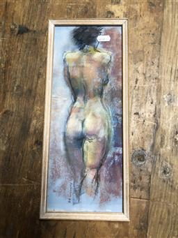 Sale 9152 - Lot 2069 - Paul Williams Standing Nude, pastel, frame: 37 x 10 cm, signed lower left -