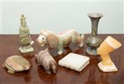 Sale 8368A - Lot 20 - A group lot of stonewares including a marble book, armadillo, agate lion and Nefertiti, etc, various sizes