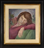 Sale 8394 - Lot 555 - Yvonne Atkinson (1919 - 1999) - Reclining Girl 41 x 36cm
