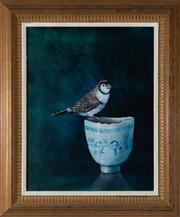 Sale 8595A - Lot 15 - JV Forbes - Finch Perched on a Porcelain Cup 34 x 27cm