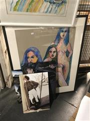 Sale 8819 - Lot 2141 - B. Leveaux - 3 Nudes, pastel on paper, SLR & 3 Fashion Wall Mount Boards