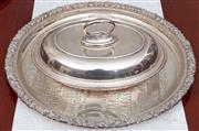 Sale 8926K - Lot 75 - A Mappin and Webb silver plated entrée dish together with a circular salver and moulded glass dish, D 43cm