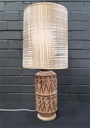 Sale 8984 - Lot 1034 - Vintage Mid Century Pottery Lamp with Fabric Shade, Possibly Fratelli (H:71cm)