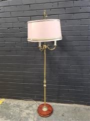 Sale 8988 - Lot 1003 - Brass Three Pronged Floor Lamp with Pink Shade (H: 176cm)