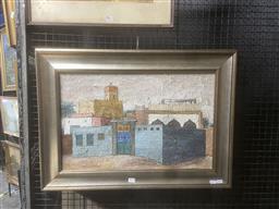 Sale 9111 - Lot 2032 - Janet VennBrownBaushar, Oman oil on canvas, frame: 55 x 75 cm, signed