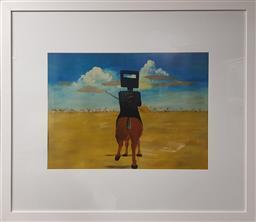 Sale 9155 - Lot 2015 - SIDNEY NOLAN (1917 - 1992) - Ned Kelly Riding 46 x 62 cm (frame: 87 x 99 x 3 cm)