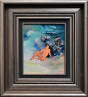 Sale 8286 - Lot 563 - James Gleeson (1915 - 2008) - Figure in Pyschoscape (Series B) 14 x 12cm
