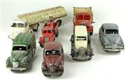 Sale 8330T - Lot 70 - Seven Micro and Dinky Toys Diecast Model Vehicles; Micro Commer Peters Ice Cream Tanker G/27 (some repainting to cab and mud guards)...