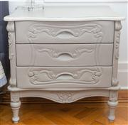 Sale 8575H - Lot 27 - A pair of shabby chic French style painted timber bedside tables with two drawers H: 64cm W: 64cm D: 48cm