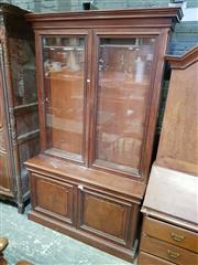 Sale 8792 - Lot 1091 - Good Victorian Mahogany Bookcase, the shallow top with two moulded glass panel doors, above two low timber panel doors (Key in office)