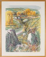 Sale 8891 - Lot 2051 - Artist Unknown - Willow Trees and Country Road 76 x 57 cm