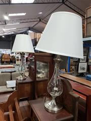 Sale 8988 - Lot 1088 - Pair of Bulbous Glass Table Lamps with White Shades (h:70cm)