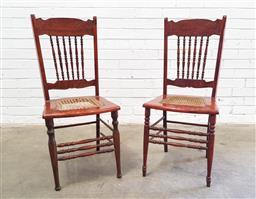 Sale 9112 - Lot 1093 - Pair of spindle back dining chairs (h91 x w40 x d40cm)