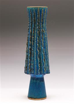Sale 9131 - Lot 24 - Footed studio pottery vase (H:35cm)