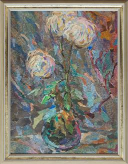 Sale 9140H - Lot 9 - Artist Unknown, Dyed recycled paper on board, flowers in vase, in a gilt wood frame, frame size 67cm x 53cm