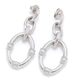 Sale 9169 - Lot 329 - A PAIR OF SILVER DROP EARRINGS; looped ring design to stud fittings, size 63 x 27mm, wt. 13.54g.