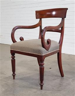 Sale 9196 - Lot 1086 - George IV Mahogany Armchair, with rail back, scrolled arms, cream diaper fabric seat & turned reeded legs (h:88 x w:40 x d:56cm)