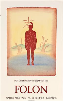 Sale 9252A - Lot 5097 - JEAN-MICHEL FOLON (1934 - 2005) Exhibition for Gallerie Alice Paulie, 1979 offset lithograph (unframed) sheet: 69 x 43 cm unsigned