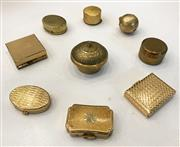 Sale 8436A - Lot 39 - A group of nine assorted brass pill boxes including Stratton.