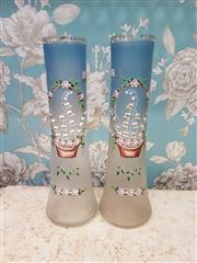 Sale 8500A - Lot 94 - A pair of antique Victorian powder blue vases featuring beautiful handpainted enameled basket of flowers detail & gilded accents- Co...