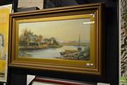 Sale 8506 - Lot 2054 - D. Sherrin, Cottages by the Lake, watercolour and gouache, 36.5 x 80cm, signed lower left