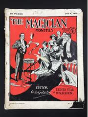 Sale 8539M - Lot 42 - The Magician Monthly, July 1912, no. 8 vol. 8. Ed. Will Goldston. Bright cover of a magician performing to an enraptured audience,...