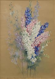 Sale 8633 - Lot 524 - Ellis Rowan (1844 - 1922) - Still Life (Larkspur) 52 x 37cm