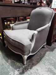 Sale 8774 - Lot 1093 - Louis XV Style Armchair, with distressed white finish, upholstered in grey linen & a cushion