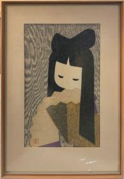 Sale 8932 - Lot 2014 - Kaoru Kawano - Girl with Fan colour woodblock print, 51 x 35.5cm, possibly signed under mount -