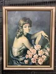 Sale 9092 - Lot 1074 - Vintage timber framed Lady with flowers print by Francisco Ribera  (h:83 x w:67cm)