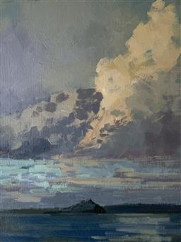 Sale 9118A - Lot 5069 - Caroline Brodie - St Michaels Mount Sunset Cloudscape 23 x 31 cm