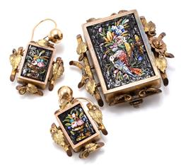 Sale 9149 - Lot 394 - AN ANTIQUE MICRO MOSAIC BROOCH AND EARRINGS SUITE; rectangular plaques set with tesserae depicting a still life of flowers and dove...