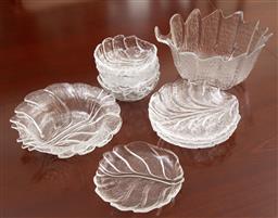 Sale 9155H - Lot 55 - A collection of leaf form glasswares including Orrefors examples. Largest Diameter 23.5cm