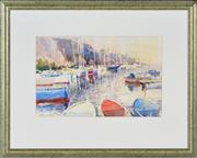 Sale 8349A - Lot 80 - Frederick Bates (1918 - ) - Boat Harbour at Menton, France 21.5 x 33.5cm