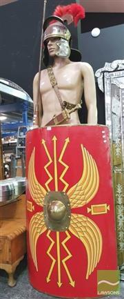 Sale 8424 - Lot 1013 - Roman Legionnaire Outfit incl. Helmet, Shield Dagger & Spear