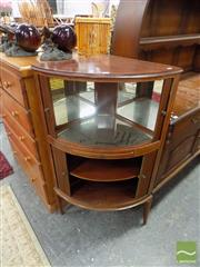 Sale 8460 - Lot 1068 - 1920s Inlaid Mahogany Corner Cocktail Cabinet, with tambour shutters, mirror interior & slide