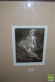 Sale 8509 - Lot 2049 - Paul Delprat (1942 - ) Victoria Goura, etching and aquatint ed. 6/60, signed lower right