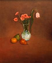 Sale 8633 - Lot 513 - Geoffrey Proud (1946 - ) - Tulips and Still Life 92 x 73.5cm