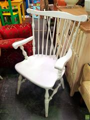 Sale 8648 - Lot 1069 - Set of Four American White Painted Timber Country Style Chairs incl. Two Carvers