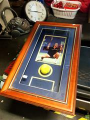 Sale 8659 - Lot 2084 - Framed Photograph of Pat Rafter with Tennis Ball