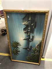 Sale 8865 - Lot 2087 - Retro Beach Scene in Gilt Frame