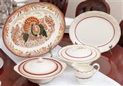 Sale 8926K - Lot 78 - Ceramic dinnerwares including turkey platter (L 41 cm), two covered vegetable dishes and a sauceboat