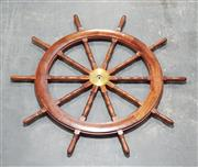 Sale 8976N - Lot 329 - Hardwood Ships Helm with Brass Spindle and 10 Spokes (d:1820mm)