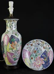 Sale 8994 - Lot 24 - Floral themed lamp base (H56cm) with a matching underplate (Dia 25.5cm)