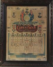 Sale 8994W - Lot 615 - An Early Framed Oak Coloured Poster Of Record Of Australias Voluntary Effort Of In The Great War, Mounted On Board (74cm x 57cm)