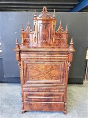Sale 9031 - Lot 1003 - Fine Mid-19th Century Continental Gothic Style Mahogany Bureau Abattant, the stepped top with spiers & pierced crests, fitted with a...