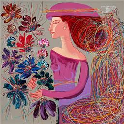 Sale 9081A - Lot 5078 - Constantine Popov (1965 - ) - Woman with Flowers - Summer Breeze IV 152.5 x 152.5 cm