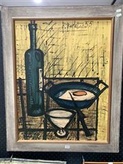 Sale 9092 - Lot 1020 - Vintage framed The breakfast print by Bernard Buffet (h:79 x w:61cm)